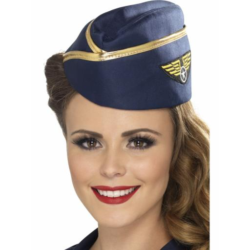 Air Hostess Hat Navy Blue with Gold Rim