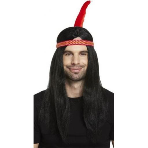 Deluxe Male Indian Wig with Band & Feather