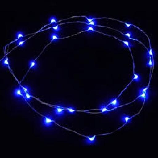 25 LED Wire Lights With Timer Blue