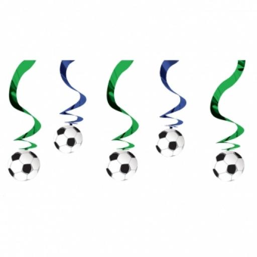 Soccer Hanging Swrill Decoration 5 in a pack 24in