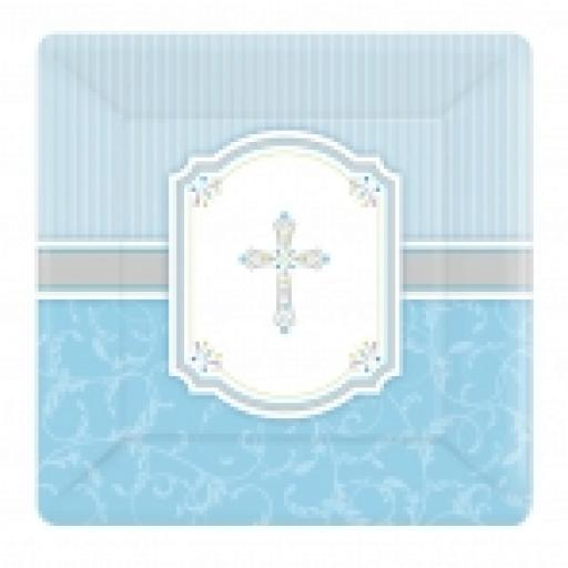 Blessings Blue Square Plate 26cm x 8pcs