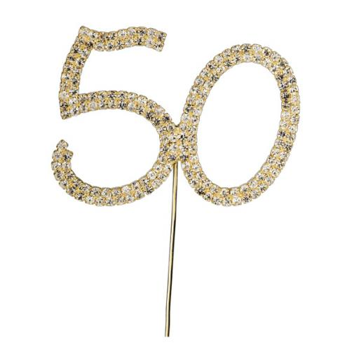 Diamante Number 50 Cake Topper Decoration