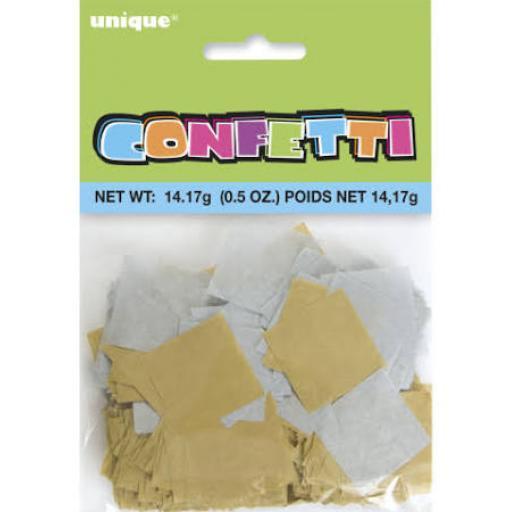 Gold and Silver Square Tissue Paper Confetti 14g