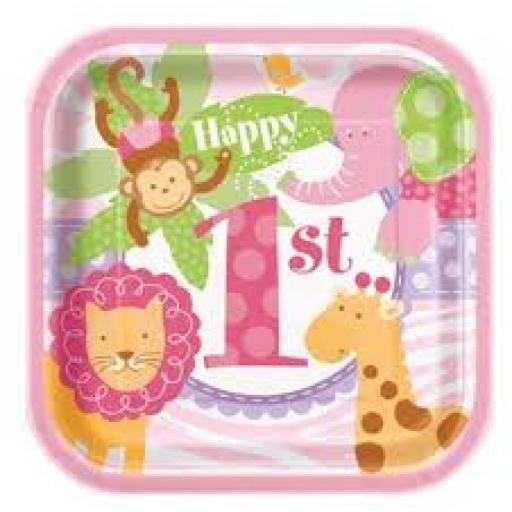 Pink Safary 1st Birthday Square Paper Plates 10ct
