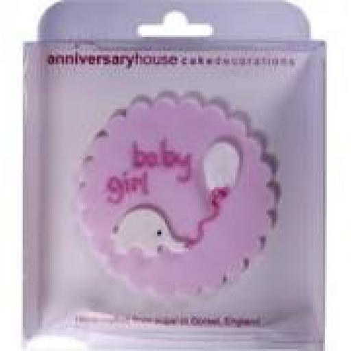 Baby Girl Sugarcraft Plaque Pink