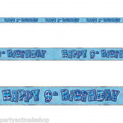 Blue Prizmatic H 9th Birthday Banner 3.6m
