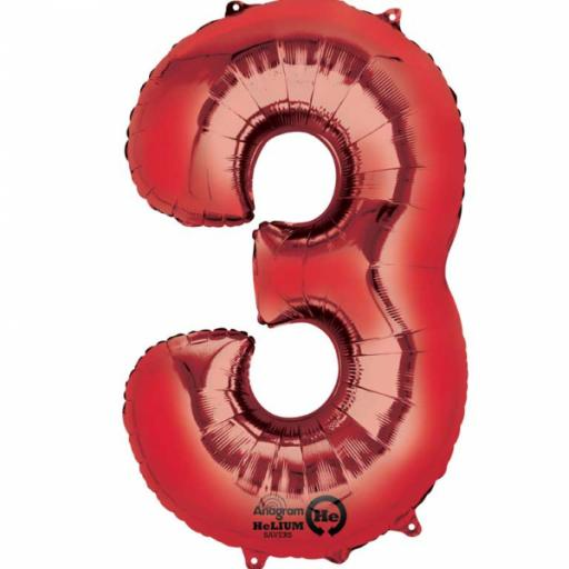 "Number 3 Red SuperShape Foil Balloon - 22""/55cm w x 34""/86cm"