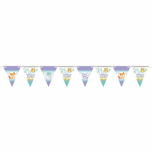Welcome Baby Bunting 24 pennants & Ribbon 4.5 m