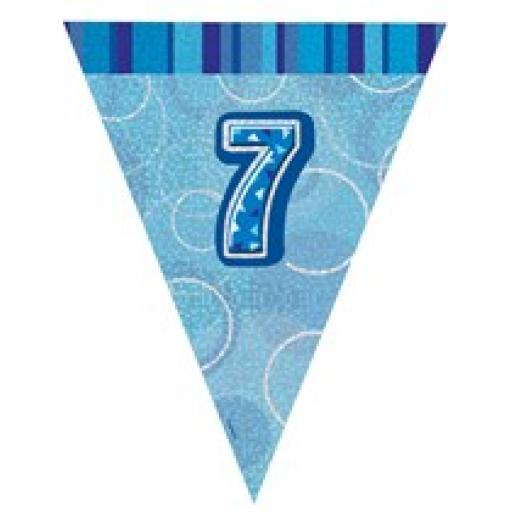 Blue Glitz Flag Banner 7th Birthday 9Ft Long