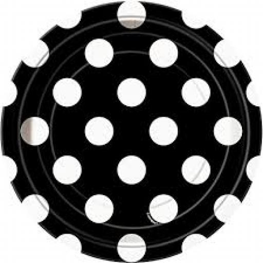 Round Plates 7 inch 8ct Midnight Black Dots