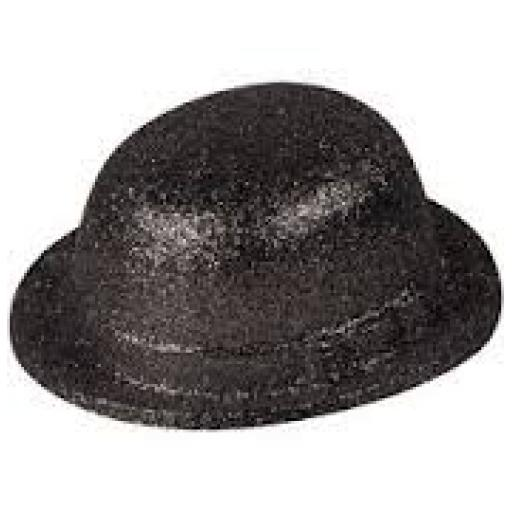 Hat Bowler Glitter 4 Assorted Colours Adult