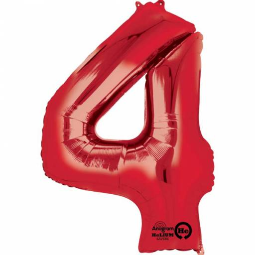 "Number 4 Red SuperShape Foil Balloon - 26""/66cm w x 34""/86cm"