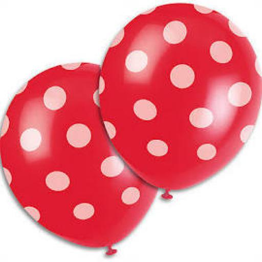 6 Helium Quality Latex Red Polka Dott Balloons