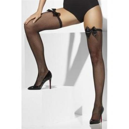 Fever Fishnet Hold Ups With Bows Black