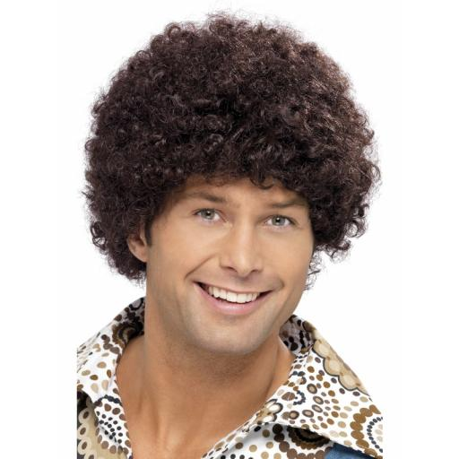 70 S Disco Dude Afro Wig Brown
