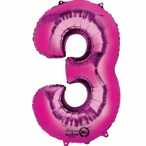 "Number 3 Pink SuperShape Foil Balloon - 22""/55cm w x 34""/86cm"