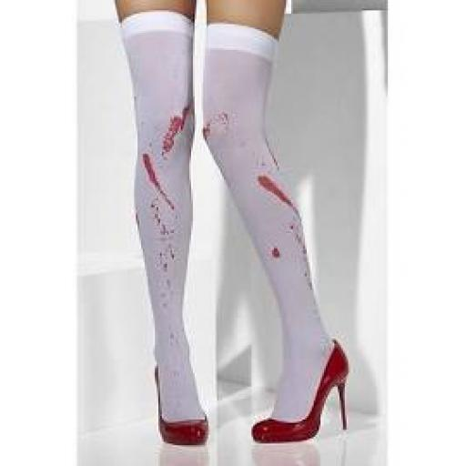 Fever Hosiery Opaque Hold Ups Blood Stain Print Wh