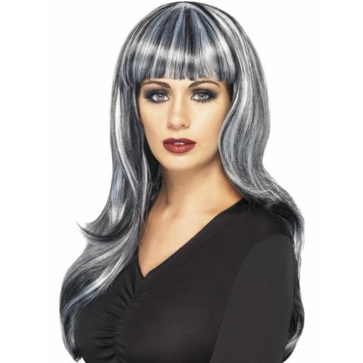 Sinister Siren Wig Black & Grey Streaks