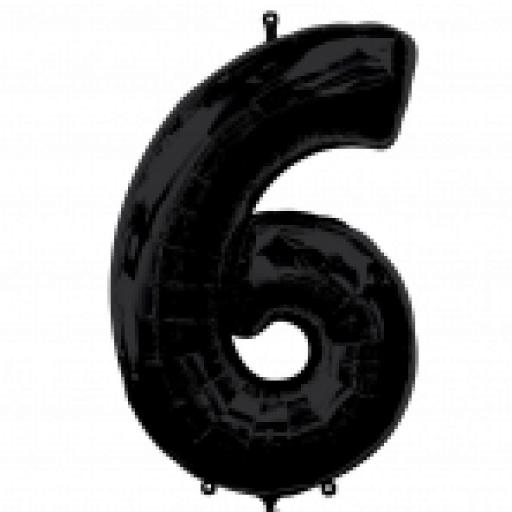 "Number 6 Black SuperShape Foil Balloons 23""/58cm w x 34""/86cm"