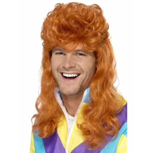 80s Super Mullet Wig Ginger