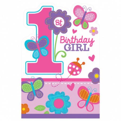 Sweet 1st Birthday Girl Invitations 8ct