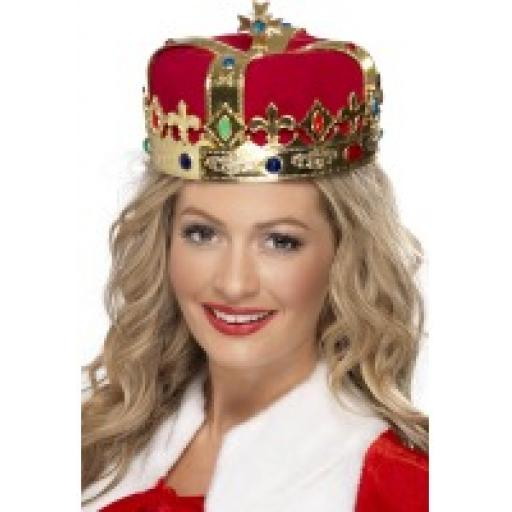 Crown queens gold With Red Fabric jewels