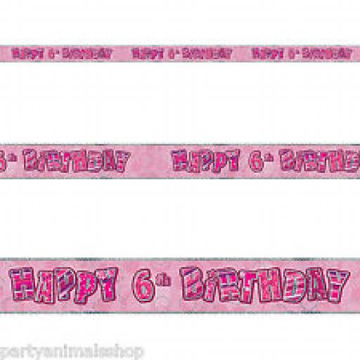 Pink Holographic Happy 6th Birthday Banner 9ft