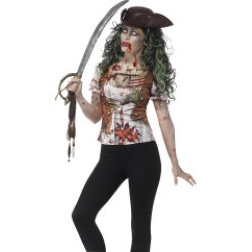 Zombie Pirate Wench T-Shirt with Sublimation Print