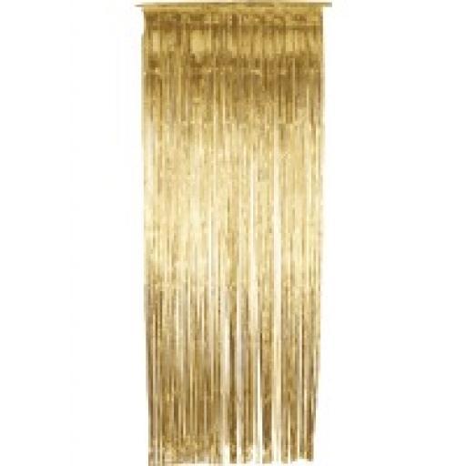 Gold Foil Shimmer Door Curtain 92cm x 244cm