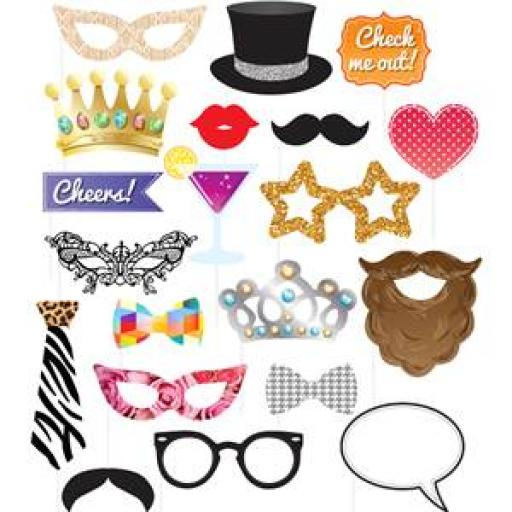Party Photo Prop Kit 20 pieces