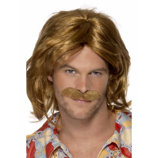 70s Super Trouper Wig & Moustache, Brown, Mid Length