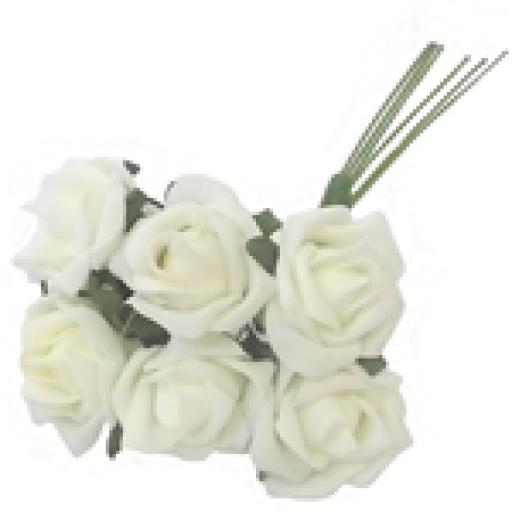 Foam Rose Bunch Ivory 6 heads 4cm