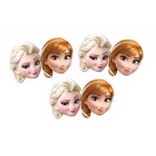 Frozen Ana & Elsa Paper Masks 6pcs
