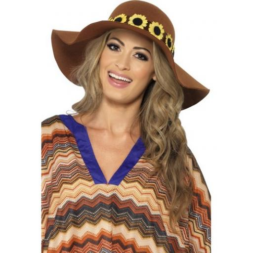 Floppy Hat with Daisy Chain Brown