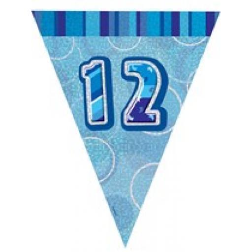 Blue Glitz Flag Banner 12th Birthday 9Ft Long