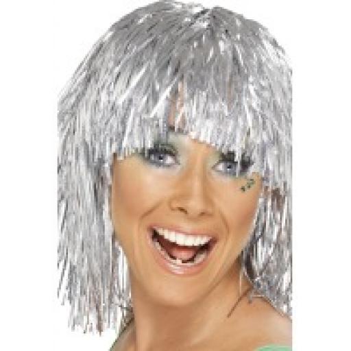 Cyber Tinsel Wig Silver Metallic