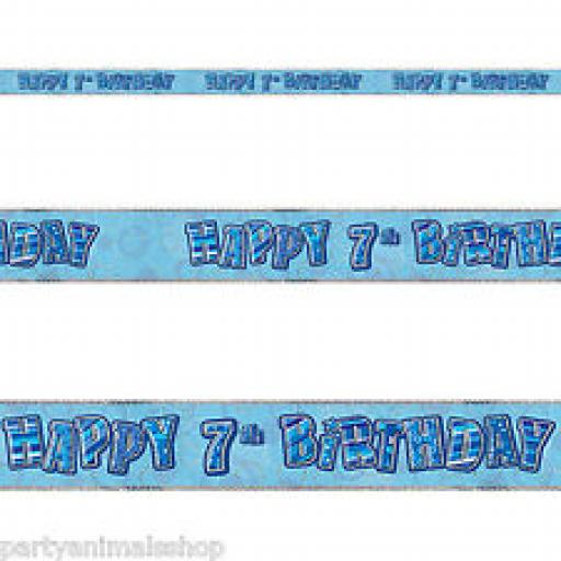 Blue Prizmatic H 7th Birthday Banner 3.6m