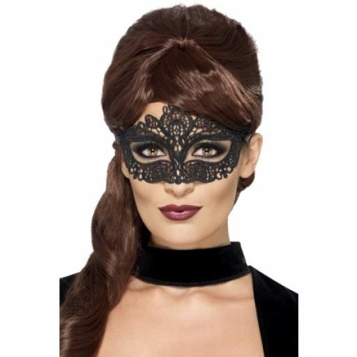 Embroidered Lace Filigree Eyemask Black