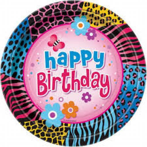 Wild Birthday Paper Party Plates 8pcs 9 inch