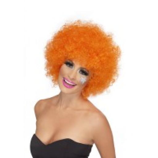 Funky Afro / Crazy Clown Wig Orange