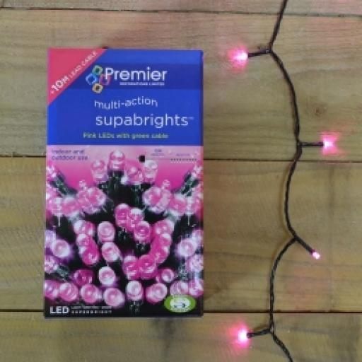 200 Suparbrights Pink LED Multi Action In/Out Door 20 Metres