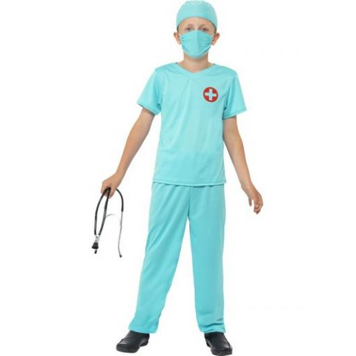 Doctor/Surgeon Costume, Blue, with Top, Trousers, Hat, Mask & Stethoscope Medium Children Size Age 7-9