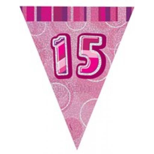 Pink Glitz Flag Banner 15th Birthday 9Ft Long