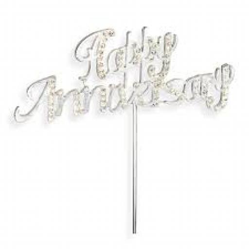 Diamante Happy Anniversary Cake Topper Decoration