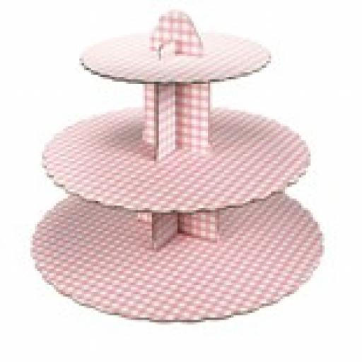 Three Tier Pink Gingham Cupcake Stand 13x14 inch