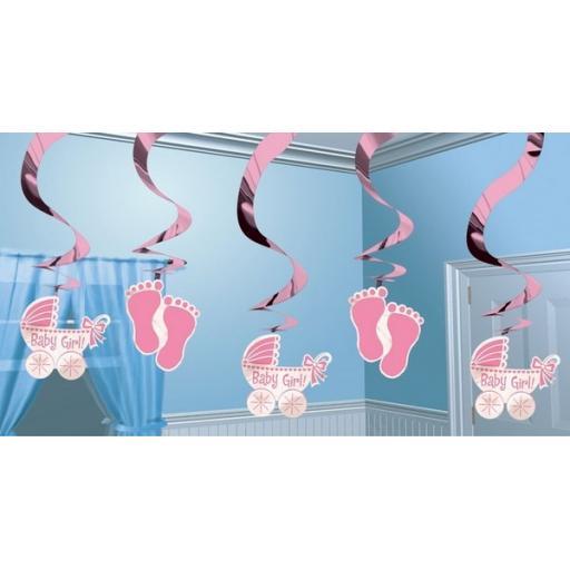 Baby Shower Hanging Swirl Decoration Pink 5pc