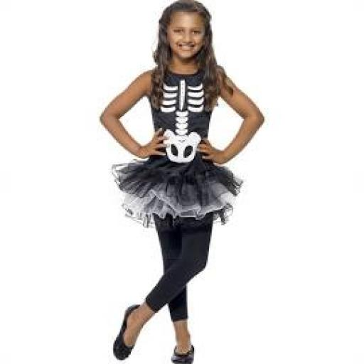 Skeleton Printed Dress with Black & White Tutu