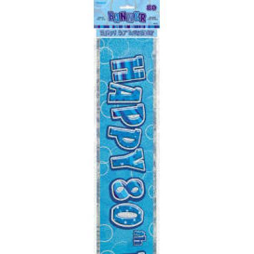 Blue Prizmatic H 80th Birthday Banner 3.6M