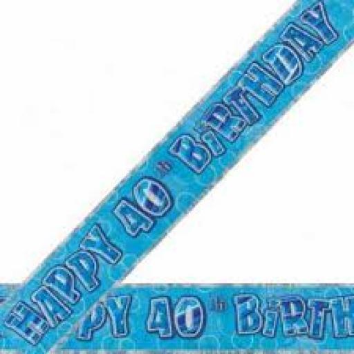 Blue Prizmatic H 40th Birthday Banner 3.6M