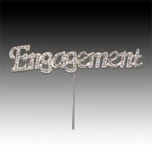 "Diamante "" Engagement"" Cake Topper Decoration"